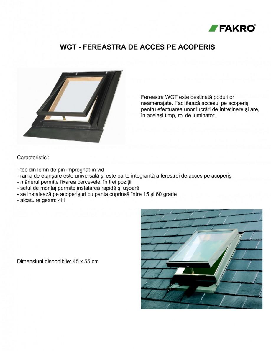 Pagina 1 - Ferestre de acces pe acoperis FAKRO WGI / WGT Fisa tehnica Romana WGT - FEREASTRA DE...