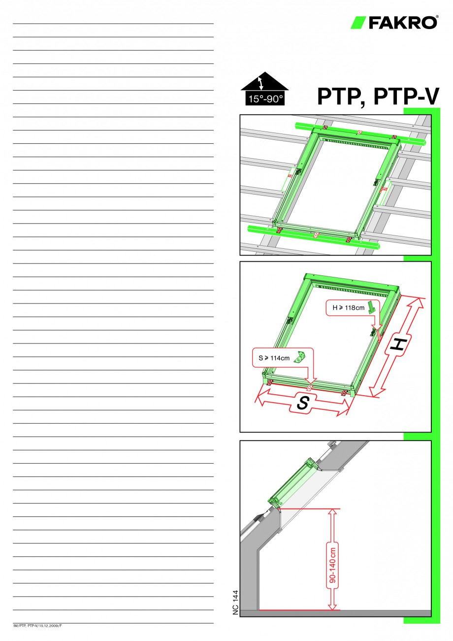 Pagina 1 - Ferestre de mansarda cu articulare mediana FAKRO PTP-V Instructiuni montaj, utilizare PTP...