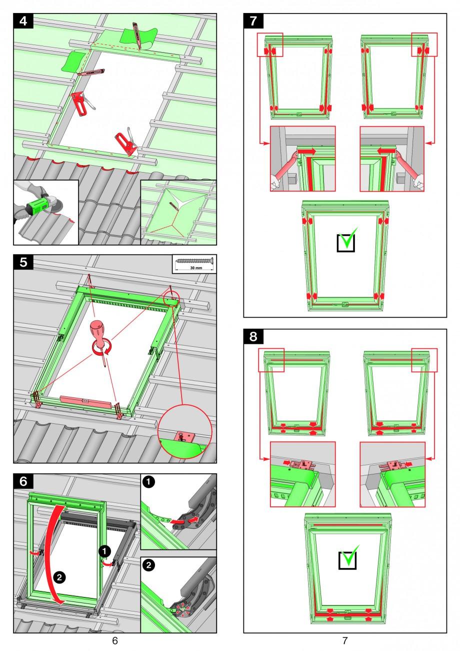 Pagina 4 - Ferestre de mansarda cu articulare mediana FAKRO PTP-V Instructiuni montaj, utilizare