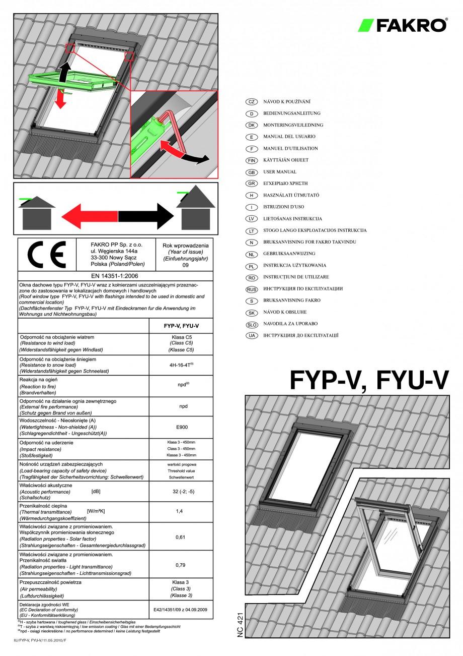 Pagina 1 - Ferestre de mansarda superinalte FAKRO FYP-V proSky Instructiuni montaj, utilizare...