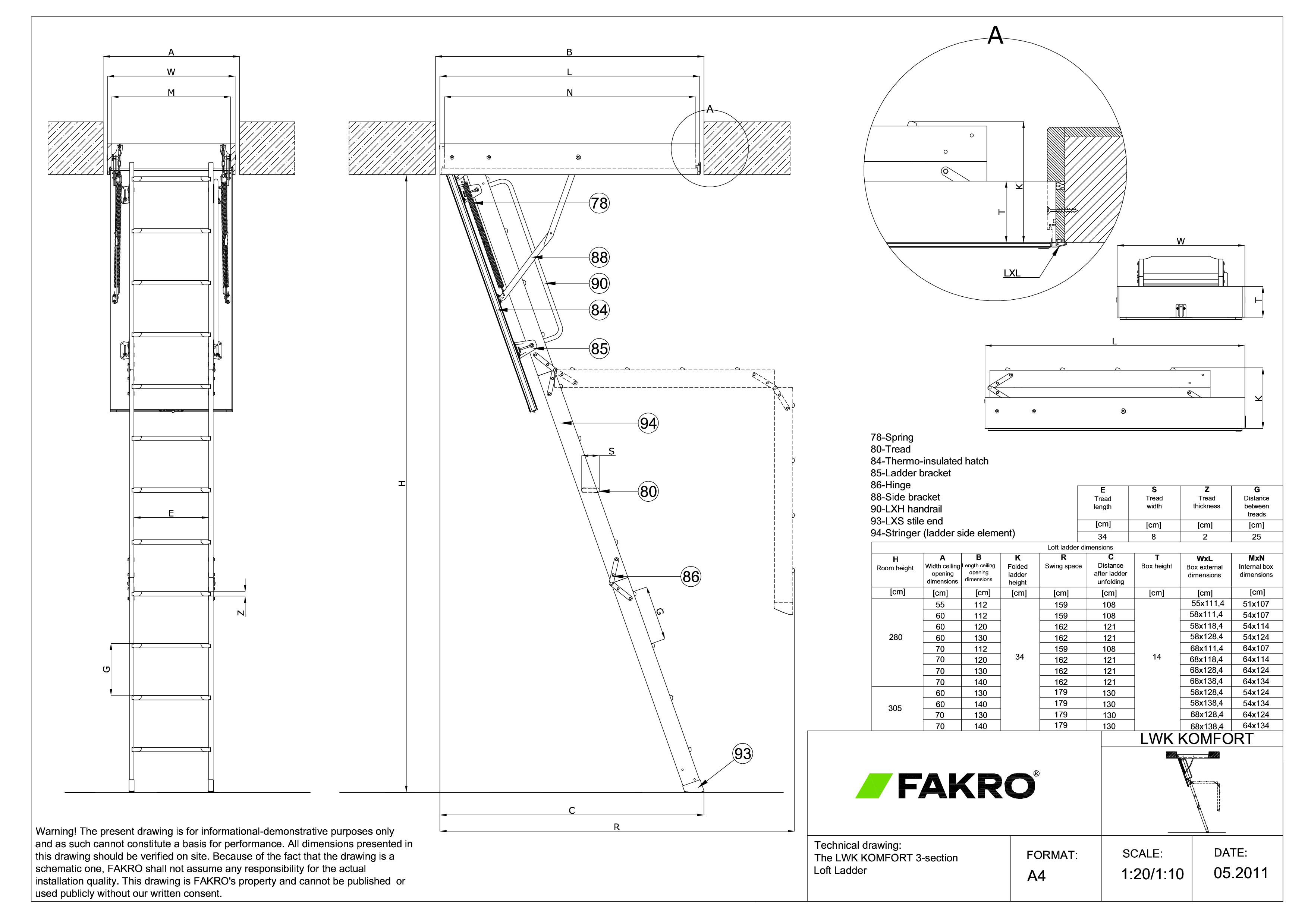 Pagina 1 - CAD-PDF Scara modulara din lemn cu 3 module FAKRO Detaliu de produs LWK Komfort