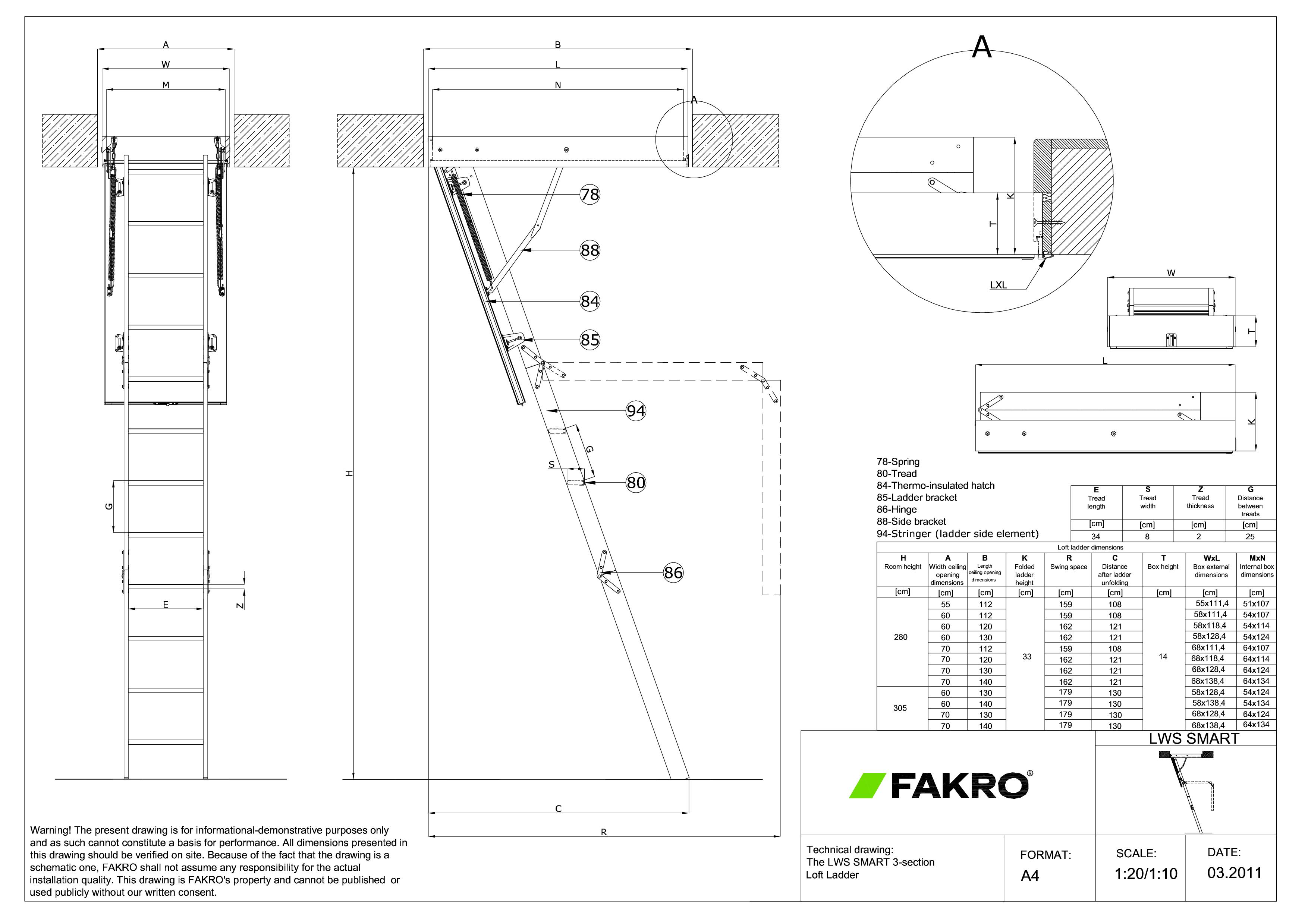 Pagina 1 - CAD-PDF Scara modulara din lemn cu 3 module  FAKRO Detaliu de produs LWS Smart