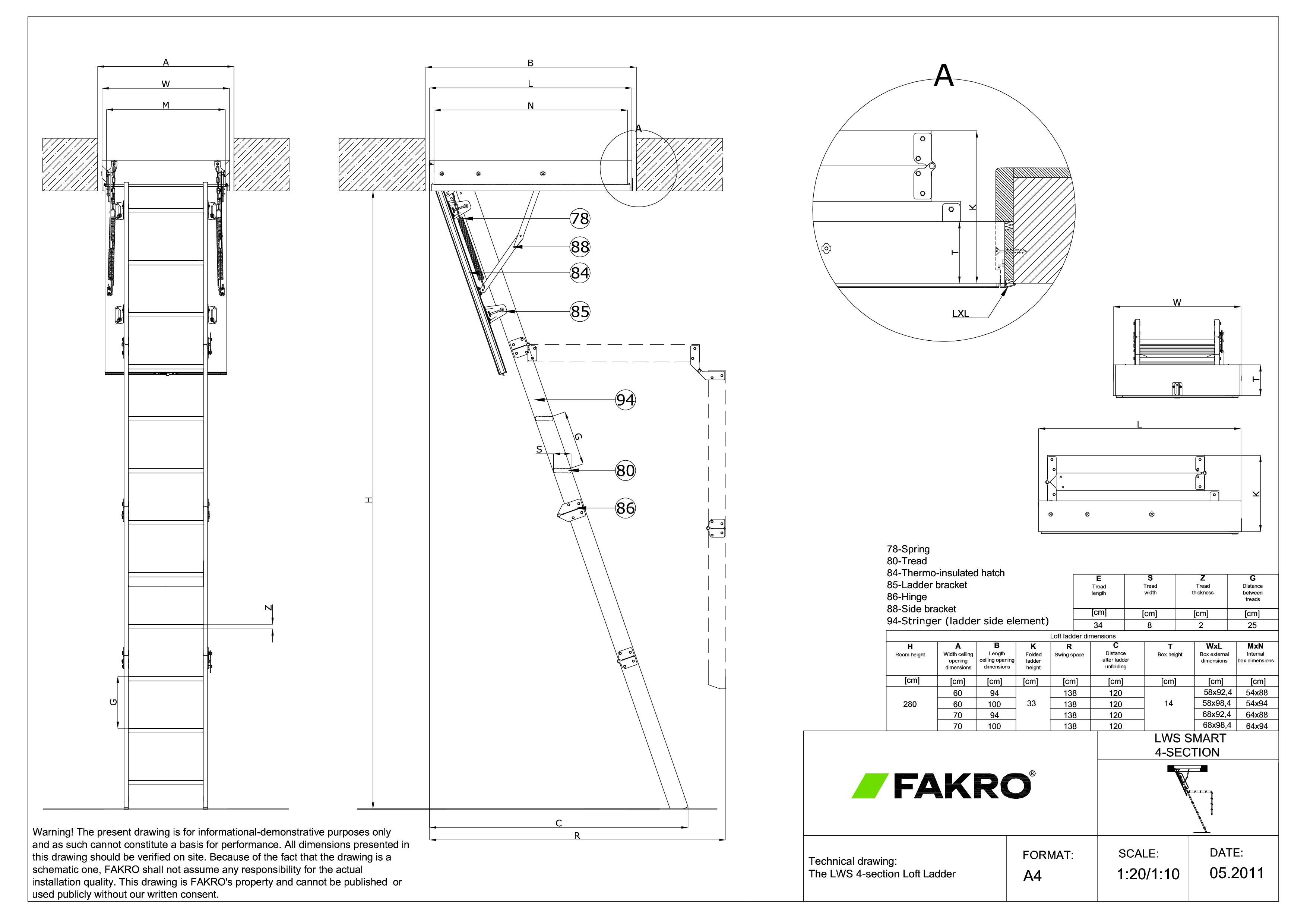 Pagina 1 - CAD-PDF Scara modulara din lemn cu 4 module FAKRO Detaliu de produs LWS Smart