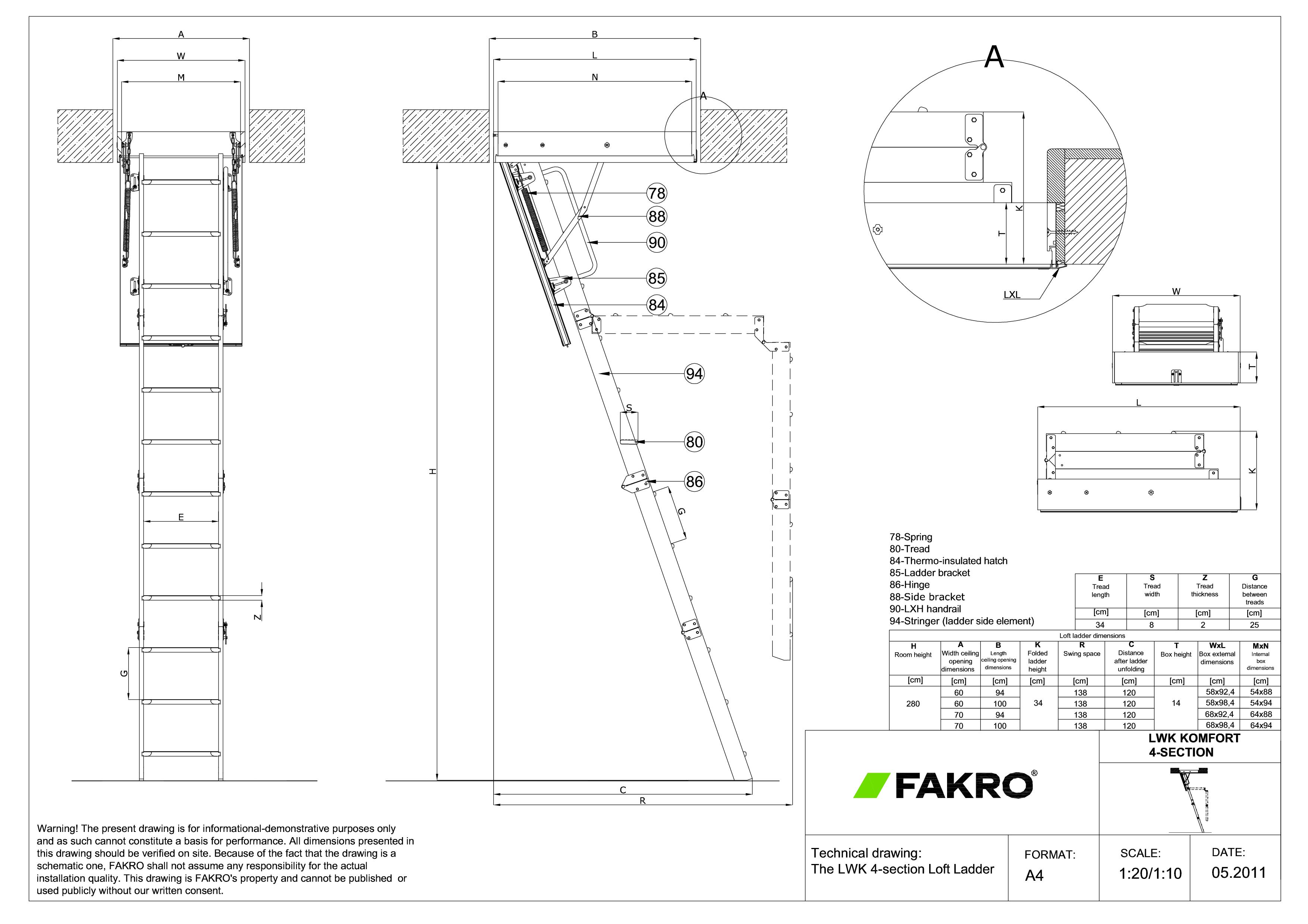 Pagina 1 - CAD-PDF Scara modulara din lemn cu 4 module FAKRO Detaliu de produs LWK Komfort