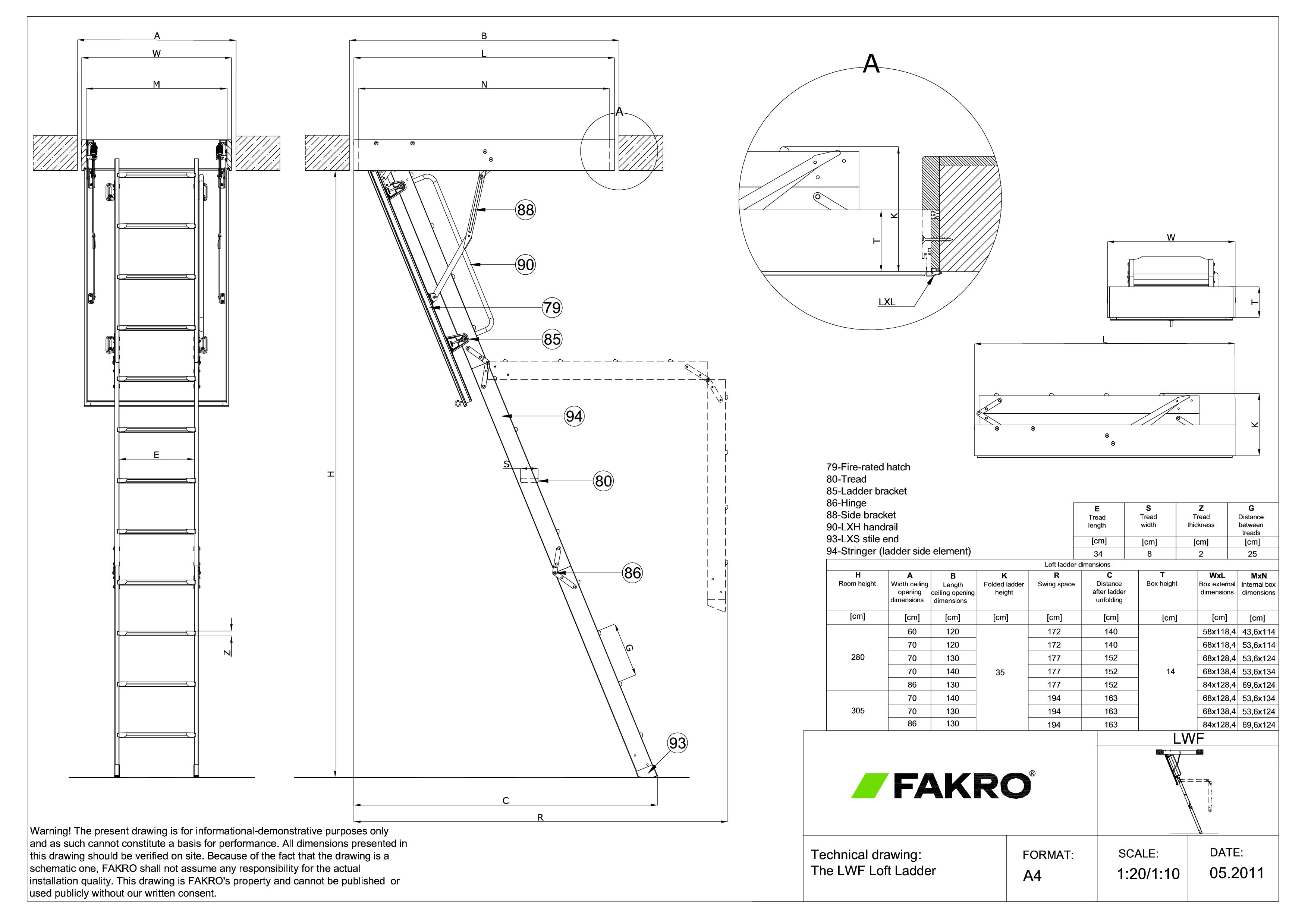 Pagina 1 - CAD-PDF Scara modulara din lemn, rezistenta la foc FAKRO Detaliu de produs