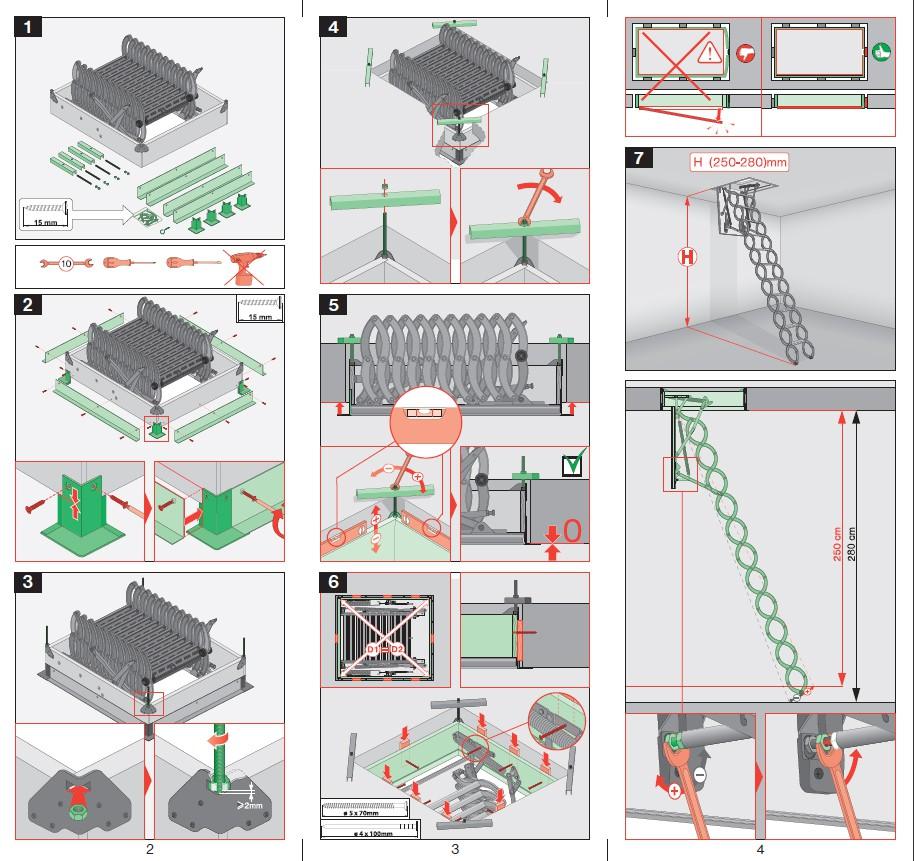 Instructiuni montaj, utilizare Scari modulare din lemn LST FAKRO Scari modulare pliabile din lemn, pentru acces la pod FAKRO ROMANIA  - Pagina 2
