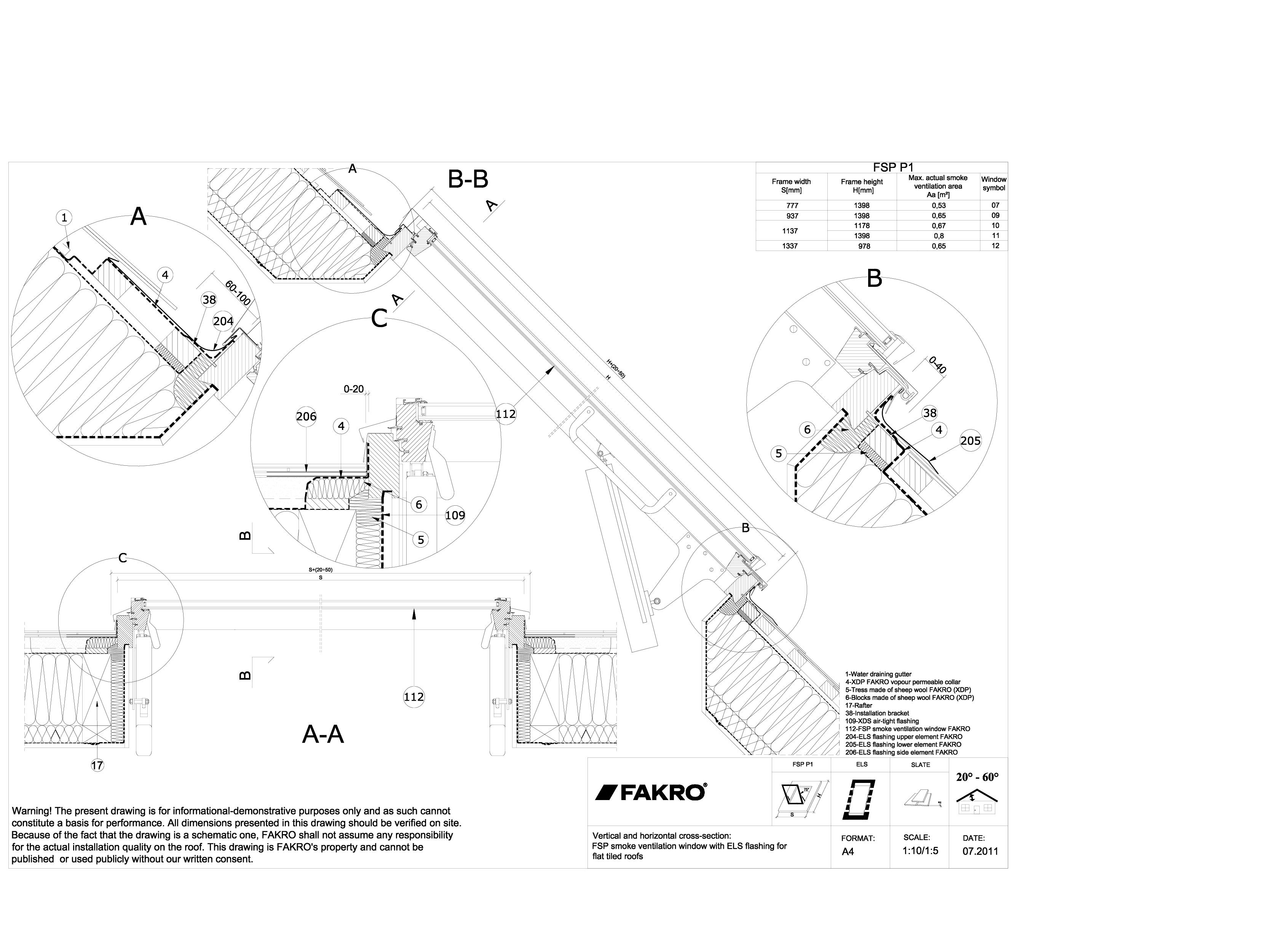 Pagina 1 - CAD-DWG Ferestre de evacuare a fumului pentru acoperisuri inclinate FAKRO Detaliu de...
