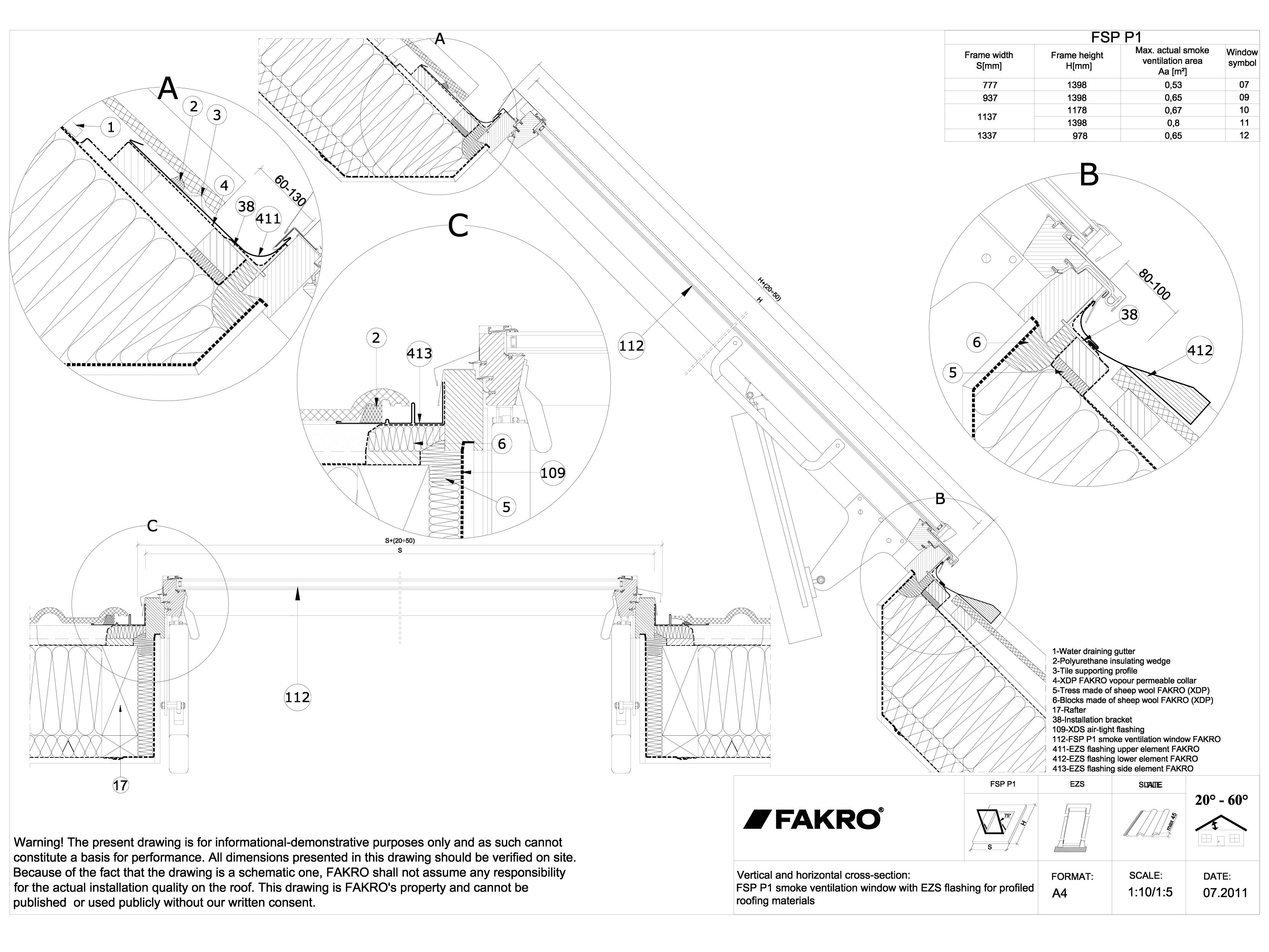 Pagina 1 - CAD-DWG Ferestre de evacuare a fumului pentru acoperisuri terasa FAKRO Detaliu de montaj ...