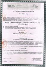 Certificat de conformitate pentru ferestre de evacuare a fumului - EN 12101-2 : 2003 FAKRO