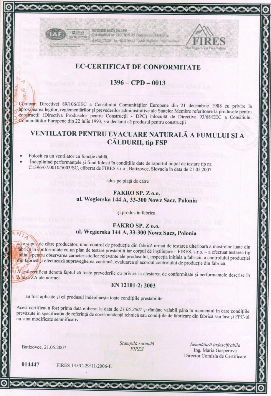 Pagina 1 - Certificat de conformitate pentru ferestre de evacuare a fumului - EN 12101-2 : 2003...