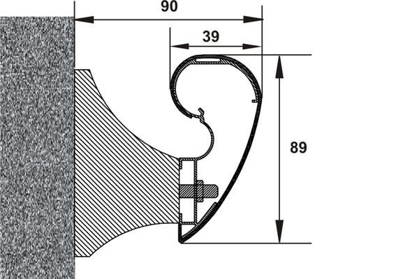 Detaliu sistem de mana curenta - latime 89 mm PROTEK - Poza 1