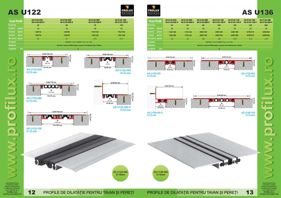 Pagina 7 - Profile pentru rosturi de dilatatie PROLUX MLB100, GOA603, GOA803, SCG002, MSA100, MSA125...