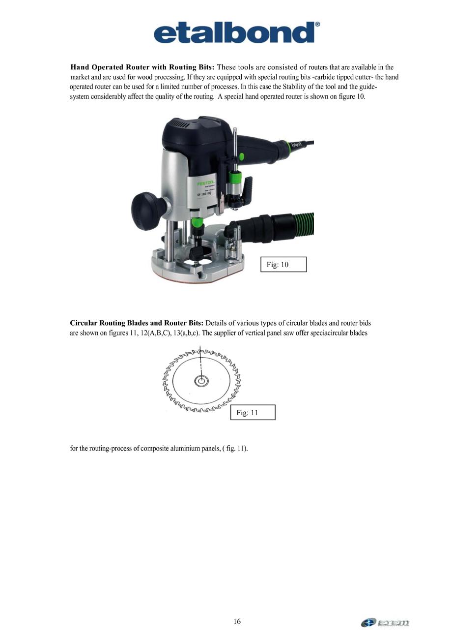 Pagina 7 - Prelucrarea panourilor compozite din aluminiu ETALBOND etalbond ® light, etalbond...