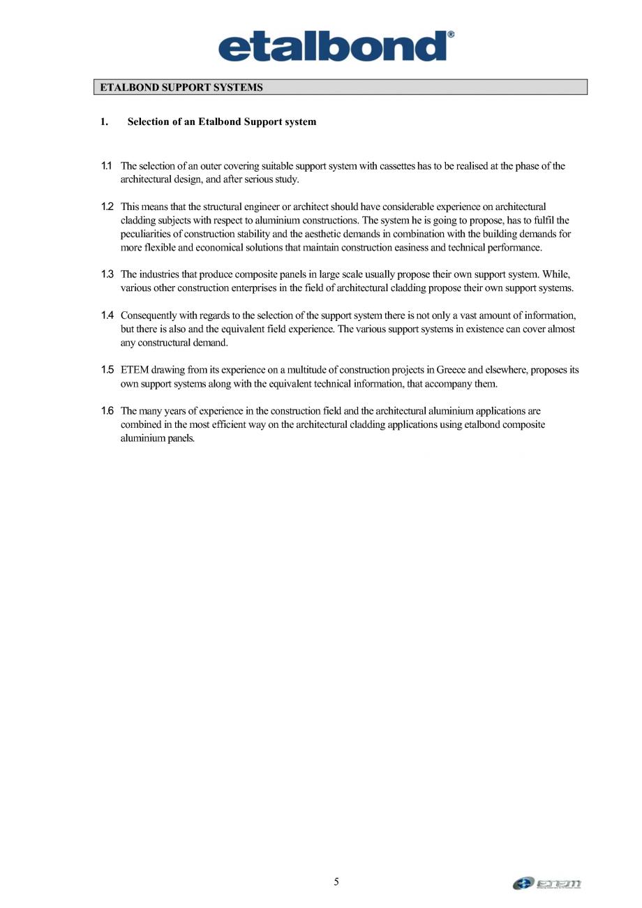 Pagina 1 - Selectia unui sistem suport ETALBOND etalbond® Catalog, brosura Engleza ETALBOND...