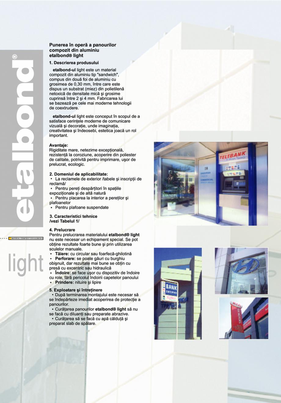 Pagina 1 - Panouri compozit din aluminiu ETALBOND etalbond ® light, etalbond ® slim Fisa...