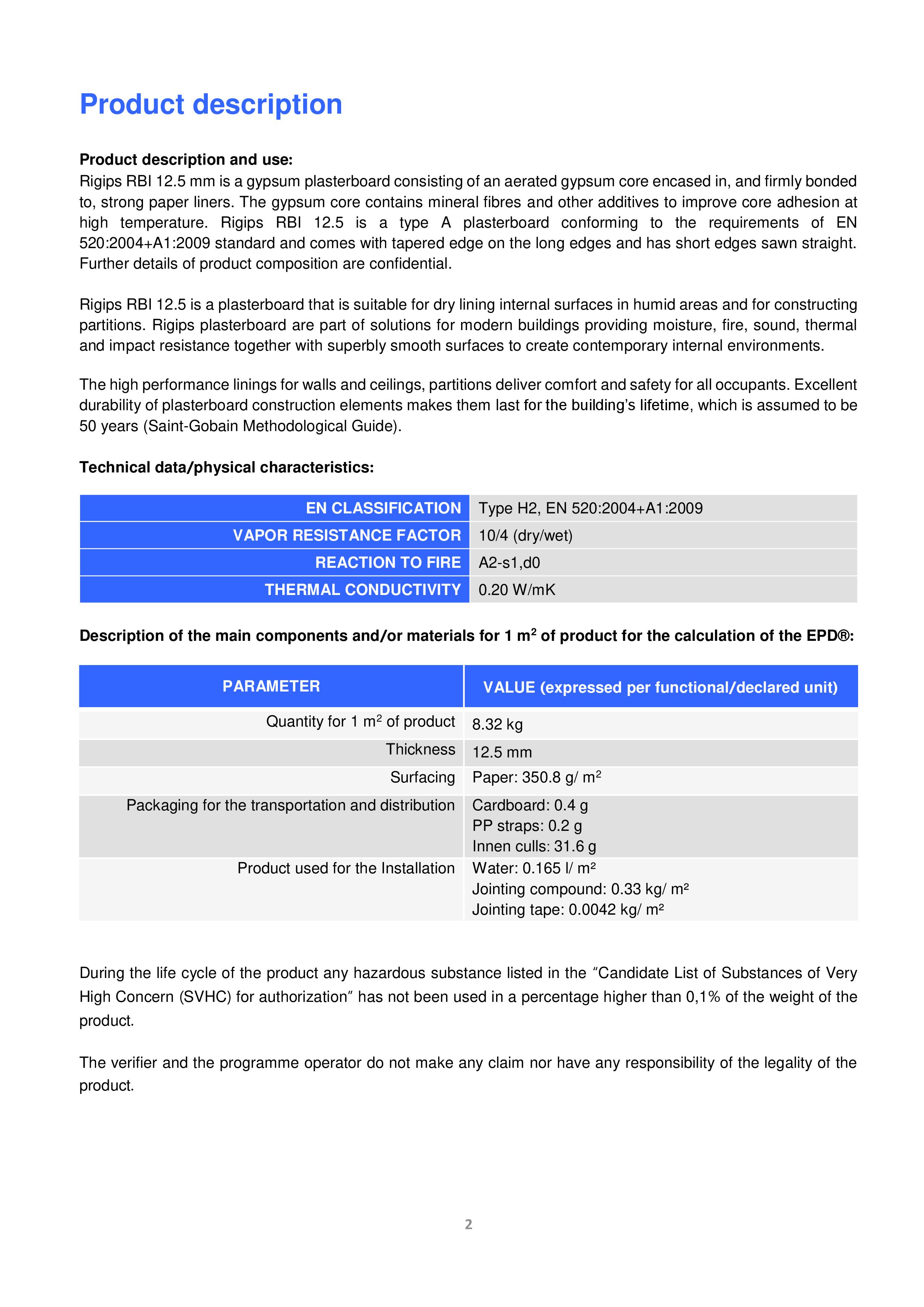 Pagina 3 - Placa din gips-carton Rigips® RBI tip H2 12.5 mm