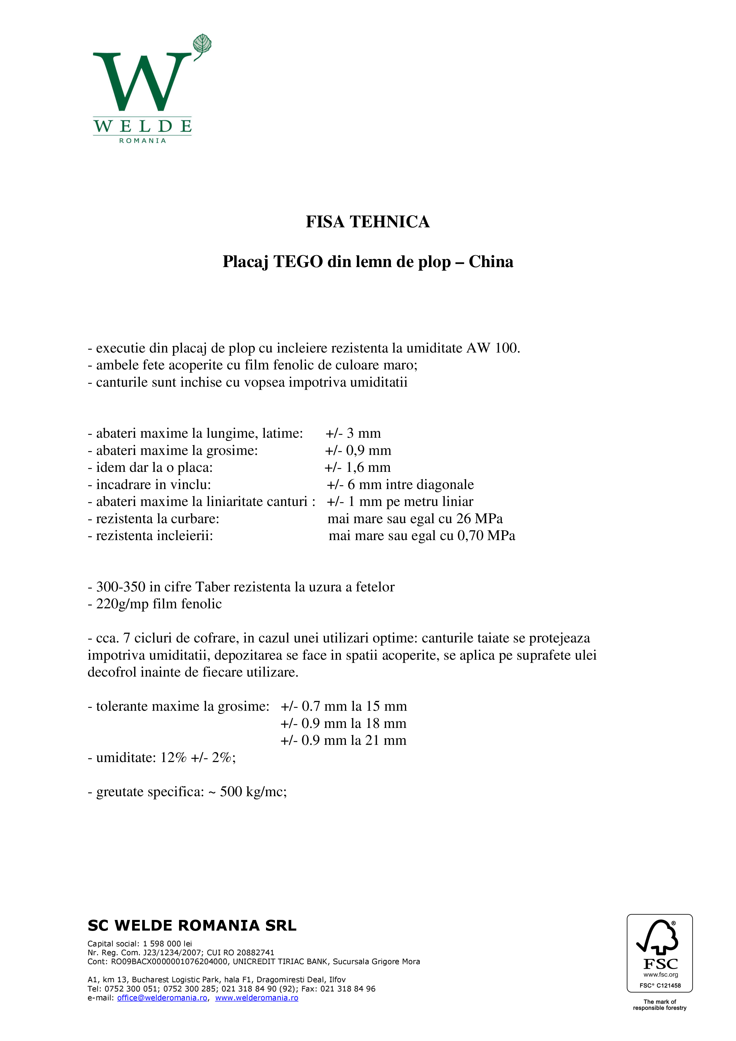 Pagina 1 - Fisa tehnica placaj TEGO import China
