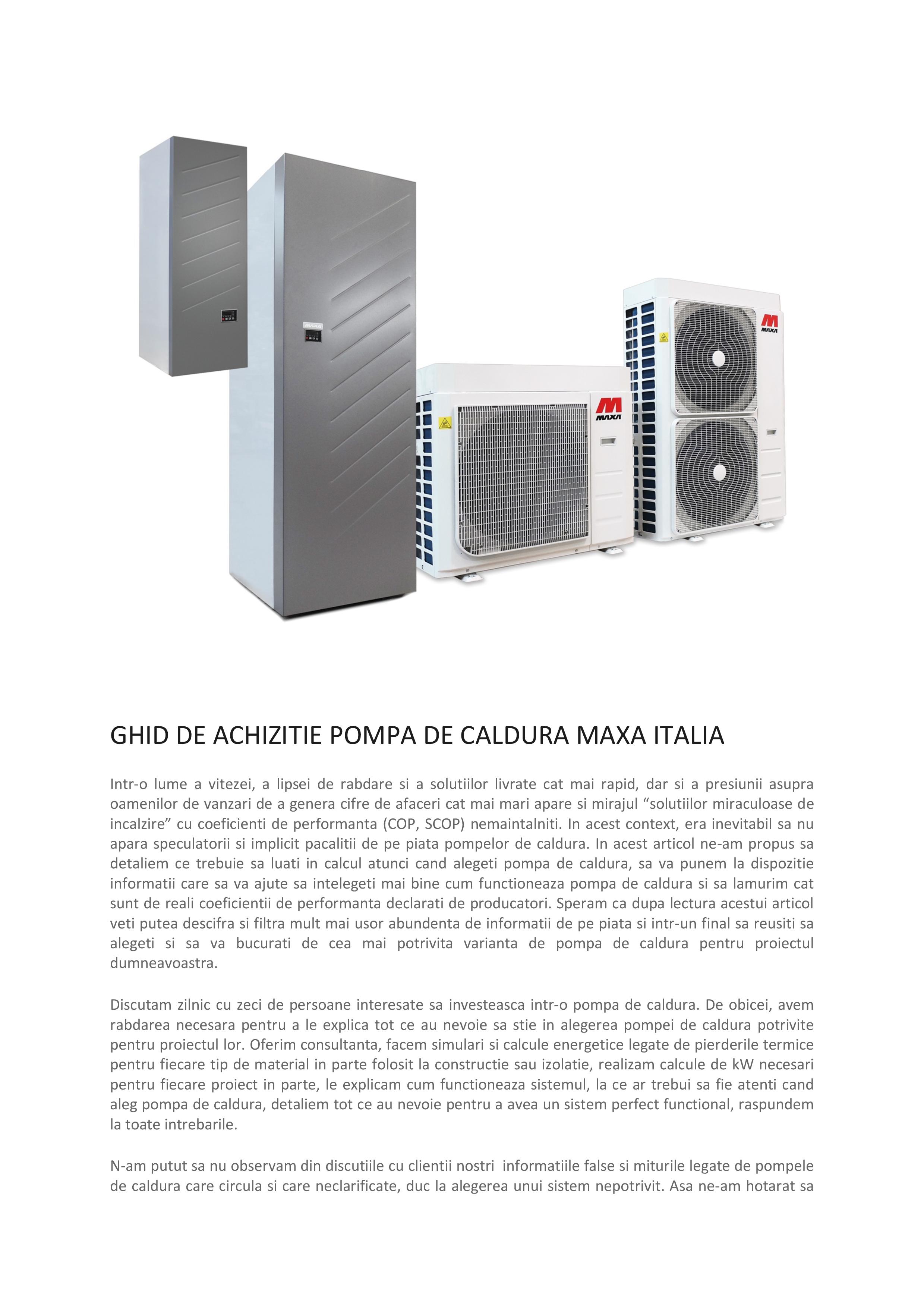 Pagina 1 - Ghid de achizitie pompa de caldura Maxa Italia