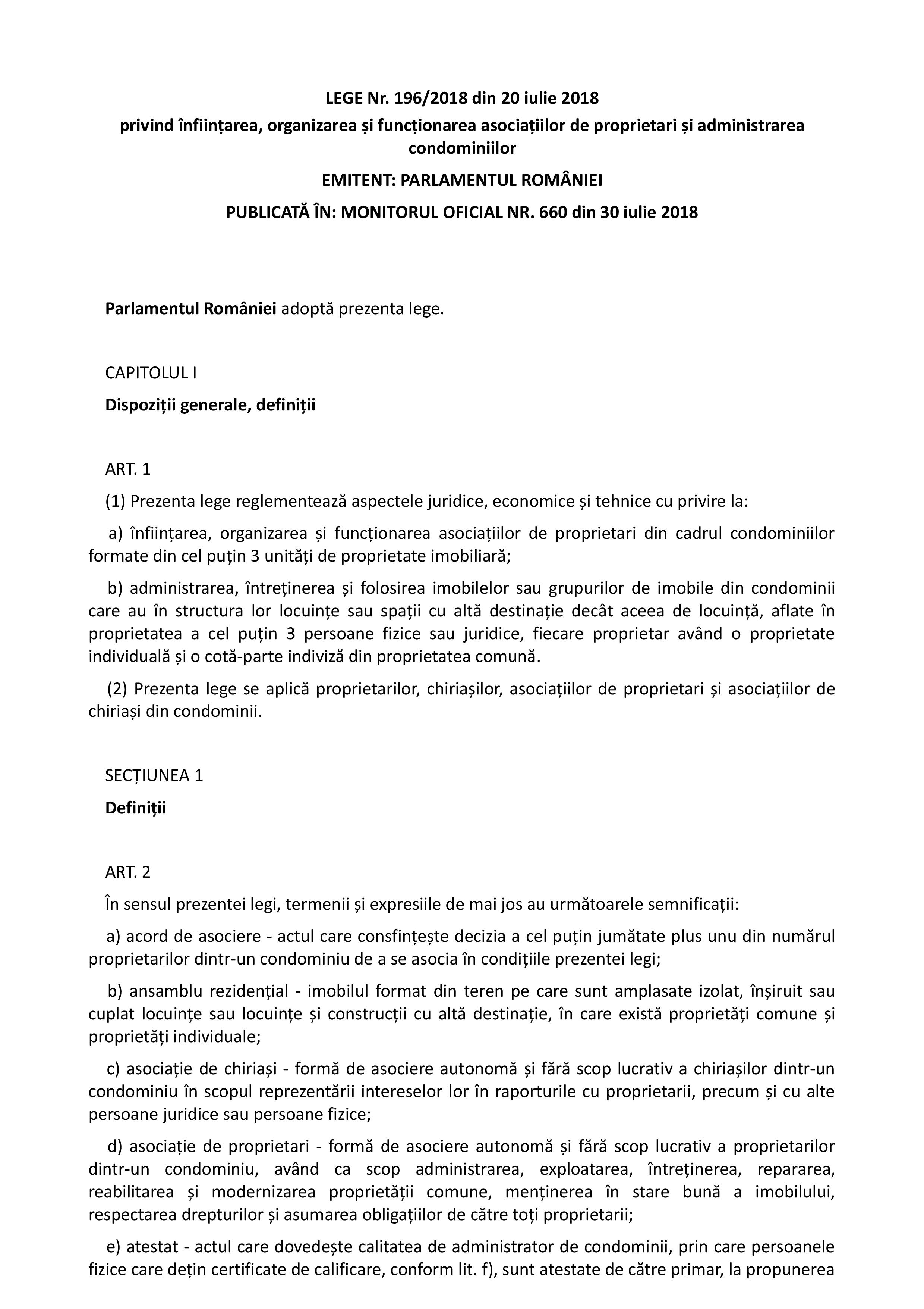Pagina 1 - LEGE Nr. 196/2018 din 20 iulie 2018 privind înființarea, organizarea și...