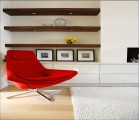 fisher hart architecture private house highgate london red chair white rug open wood shelving nook.jpg
