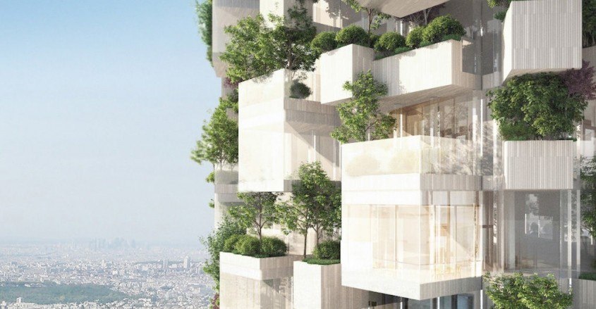 Prima pădure verticală din Franţa cu un hectar de verdeaţă - Prima clădire cu fațadă înverzită