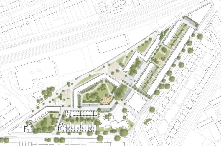 Planul de situație al proiectului de regenerare – accent pus pe dezvoltarea Ely Court - Ely Court sau întoarcerea acasă - o dezvoltare rezidențială marca Alison Brooks Architects prezentată de Nelson Carvalho la SHARE Forum 2017
