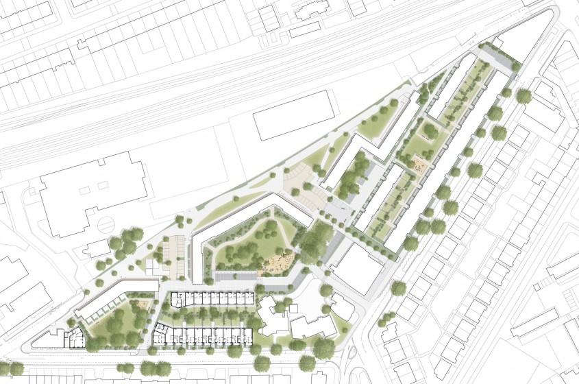 Planul de situație al proiectului de regenerare – accent pus pe dezvoltarea Ely Court - Ely
