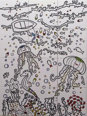 Peisaj subacvatic caluti de mare, pesti ... fond alb - Faianta pentru baie