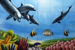 Peisaj subacvatic delfini - Faianta pentru baie