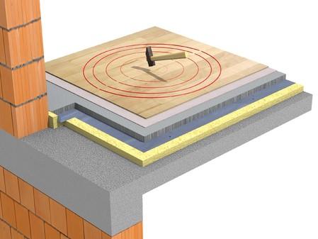 Detaliu de pardoseala cu sapa in sistem  de dala flotanta - Pardoseala cu sapa flotanta