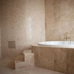 Mozaic Travertin Classic Polisat 2.3x2.3 cm - Piatra naturala panel