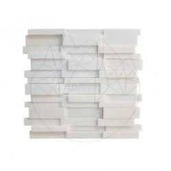 Mozaic Marmura Thassos 3D Lines V2 Polisata - Piatra naturala panel