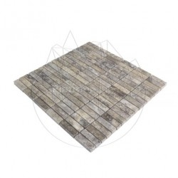 Mozaic Travertin Silver Polisat 1.4 x 4.7 cm - Piatra naturala panel