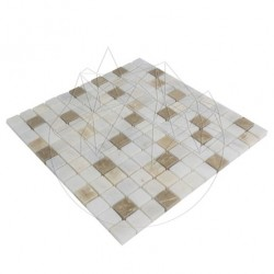 Mozaic Marmura Alba si Onix Mix Polisata 2.3 x 2.3cm - Piatra naturala panel