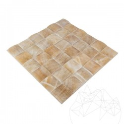 Mozaic Onix Honey Pyramid Polisat 5 x 5cm - Piatra naturala panel