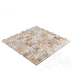 Mozaic Onix Honey Herringbone Polisat - Piatra naturala panel