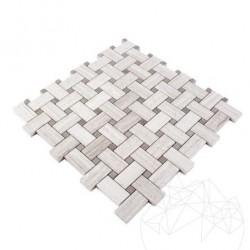Mozaic Marmura Basket Weave Athena Grey si White Wood - Piatra naturala panel