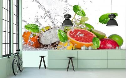 Amenajare bucatarie cu tapet cu model cu fructe - Tapet MallDeco
