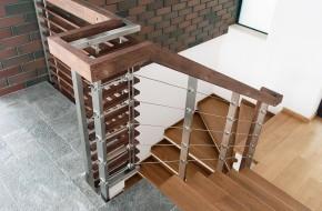 Balustrada lemn, inox cu cabluri - Balustrade