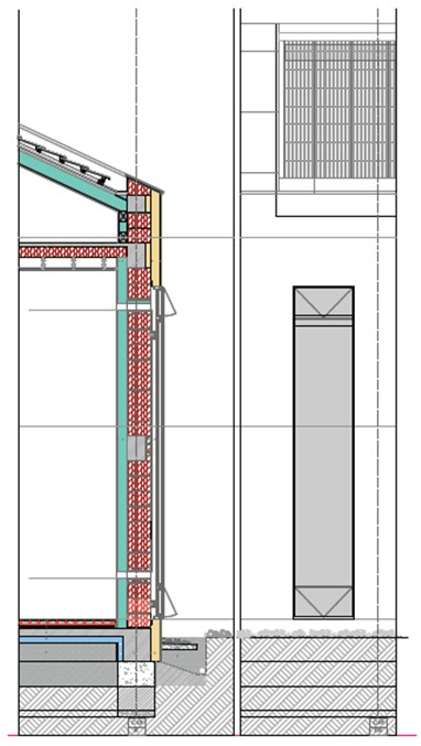 Sectiune verticala si vedere exterioara Perete Trombe - Casa E4 - Perete Trombe - Perete termodinamic