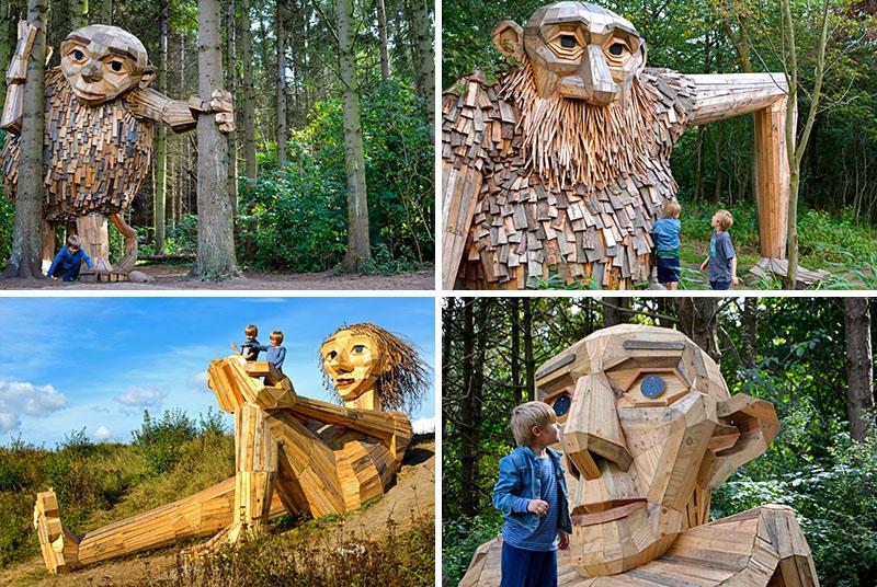Șase giganți mari de lemn se ascund acum într-o pădure de lângă Copenhaga - Șase giganți