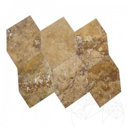 Travertin Yellow Cross Cut Exotic Hexagon, Periat si Daltuit 46 x 46 x 1.2cm - Lichidare Stoc - Travertin