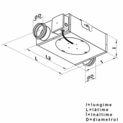 Ventilator tubulatura 3 viteze, 1 intrare si 1 iesire, 97/138/176 mc/h - Ventilatie industriala ventilatoare centrifugale