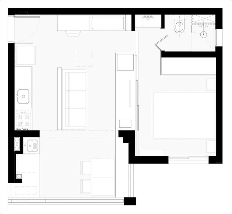 Planul apartamentului - Ce faci când apartamentul are doar 32 mp? Ascunzi dormitorul în spatele peretelui!