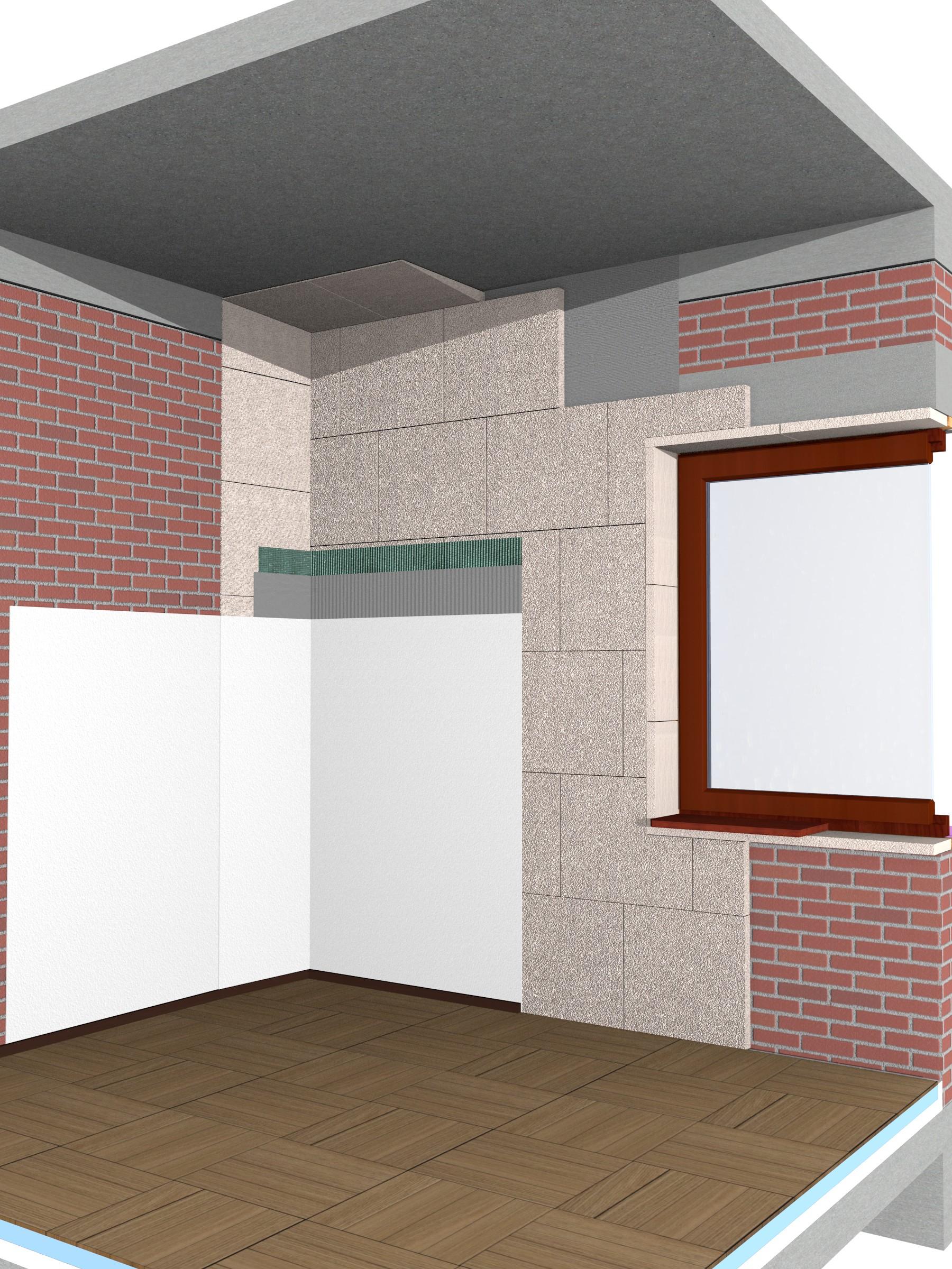 Detaliu reabilitare termica la interior cu termoizolatie minerala Multipor - Termoizolarea si reabilitarea termica a peretilor de exterior si interior