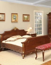 Pat 1800 lemn masiv Royal Gold - Mobila dormitor lemn masiv Royal Gold