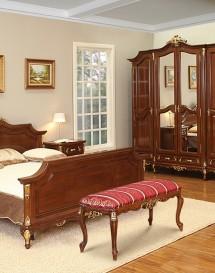 Taburet lemn masiv Royal Gold - Mobila dormitor lemn masiv Royal Gold