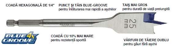 Burghie plate Blue Groove 4X - 152mm lungime - Burghie pentru lemn - Irwin