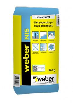 Glet superalb pe baza de ciment - weber N15 - Gleturi pentru egalizare si finisaje