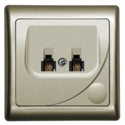 Priza dubla telefon satin - Aparataj electric efekt